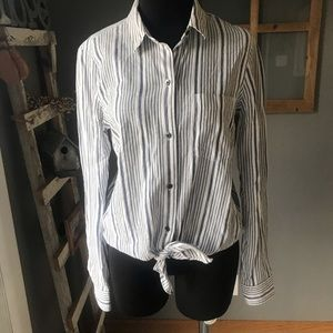 Madewell Blue White Striped Tiefront Cotton Blouse